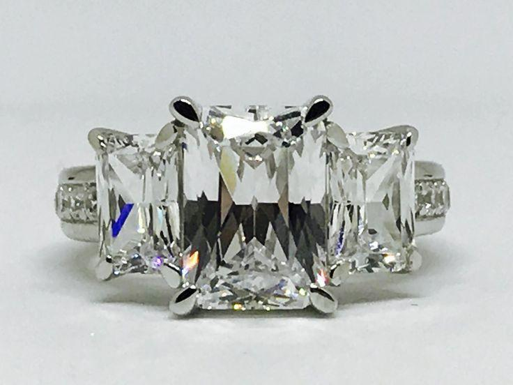 زفاف - A Perfect 3.33CT Radiant Cut Emerald Cut Side Stone Engagement Anniversary Wedding Ring