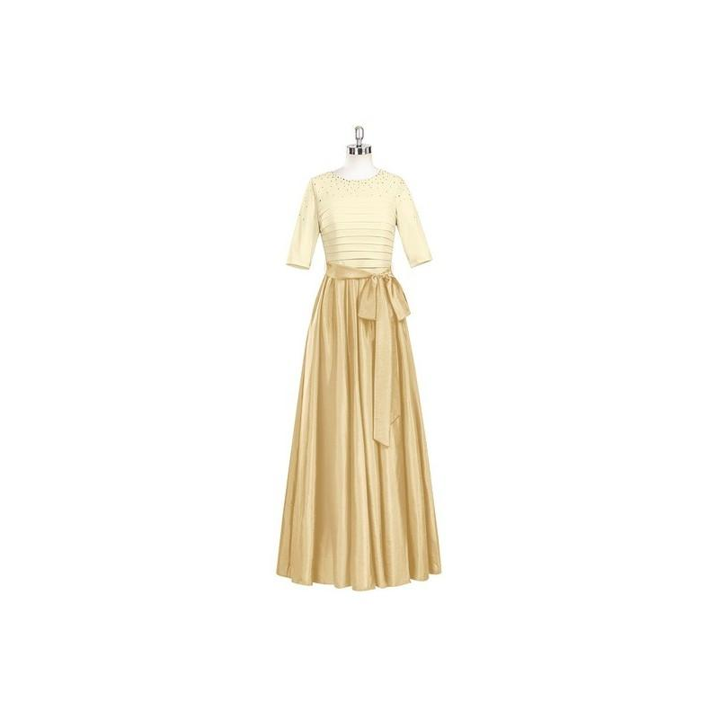 Mariage - Gold Azazie Lexi - Floor Length Back Zip Scoop Stretch Knit Taffeta And Jersey Dress - Cheap Gorgeous Bridesmaids Store