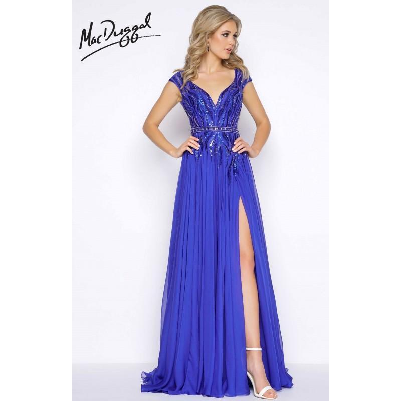 Mariage - Deep Emerald Cassandra Stone 50390A - A Line Cap Sleeves Long Chiffon High Slit Open Back Dress - Customize Your Prom Dress
