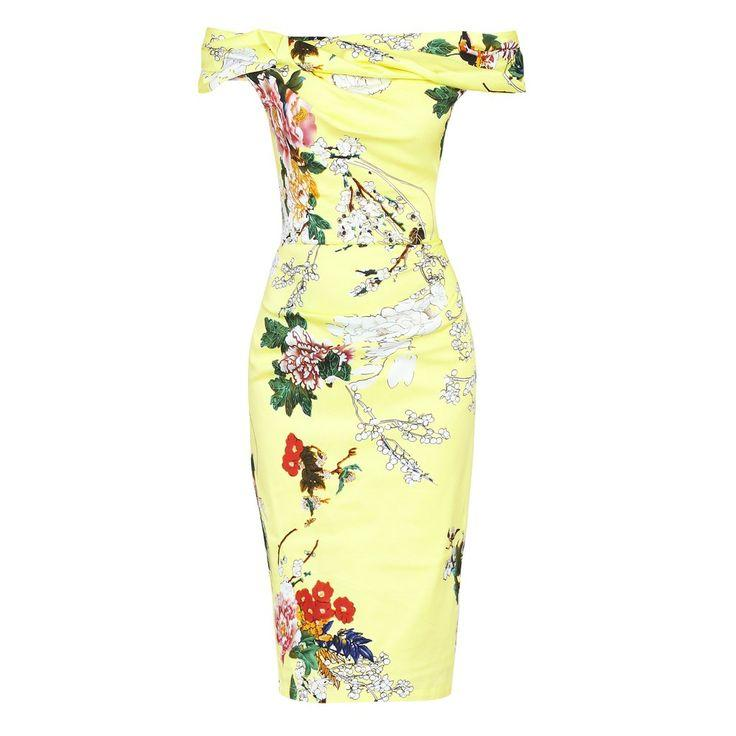 Wedding - Yellow Floral Bardot Wiggle Pencil Dress