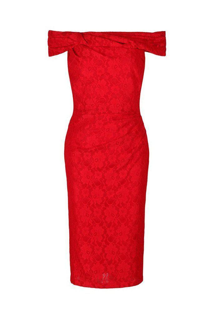 Свадьба - Red Lace Bardot Wiggle Pencil Dress