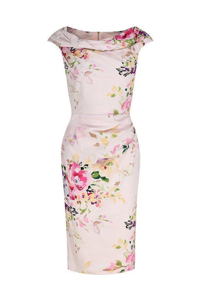 Свадьба - Pink Floral Bardot Wiggle Pencil Dress