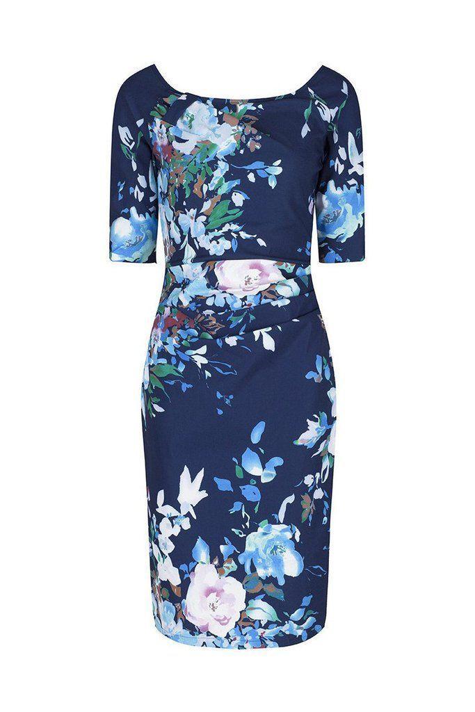 Свадьба - Navy Blue Floral 1/2 Sleeve Floral Wiggle Pencil Dress