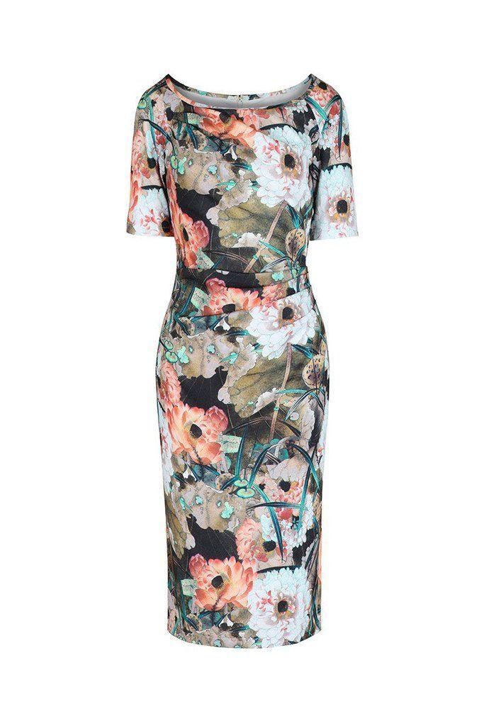 Свадьба - Floral 1/2 Sleeve Wiggle Pencil Dress