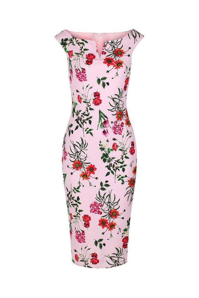 Свадьба - Pink Floral Bardot Bodycon Pencil Dress