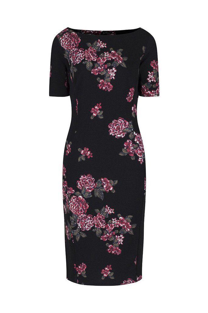 Свадьба - Black Floral Capped Sleeve Bodycon Wiggle Dress