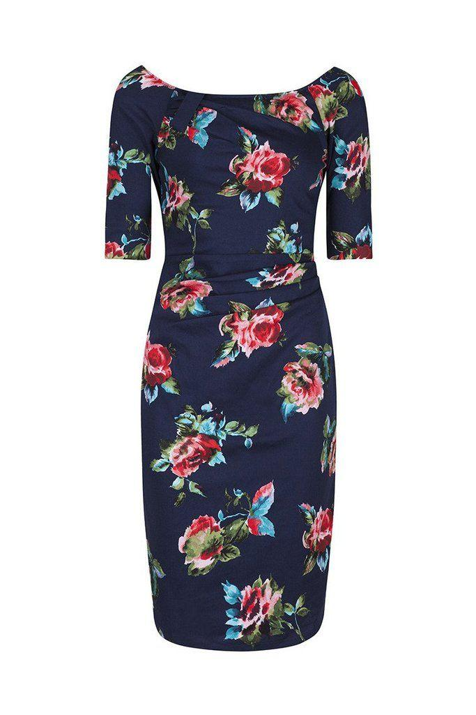 Свадьба - Navy Blue Floral 1/2 Sleeve Floral Wiggle Pencil Dress