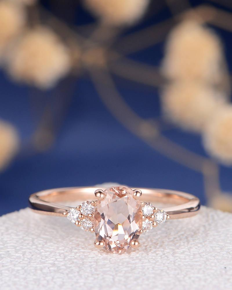 Morganite Engagement Ring Rose Gold Diamond Cluster Ring Oval Cut