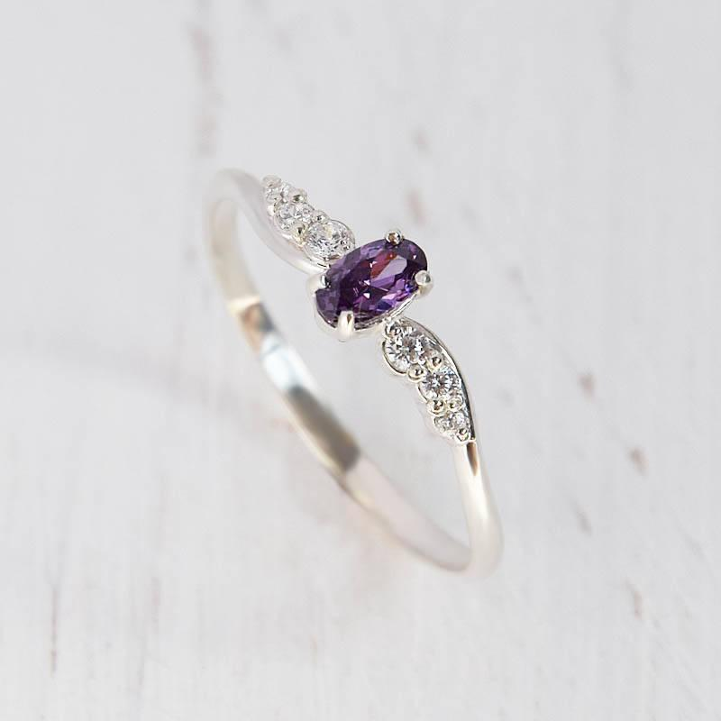 to stone rings purple with round ring engagement wedding evil regard gemstone skull cut wing