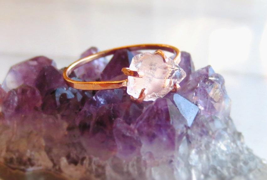 Mariage - Raw Rose Quartz Ring Raw Pink Stone Ring Rough Stone Ring Raw Pink Stone Raw Rose Quartz Ring Alternative Engagement Rose Quartz Ring Raw