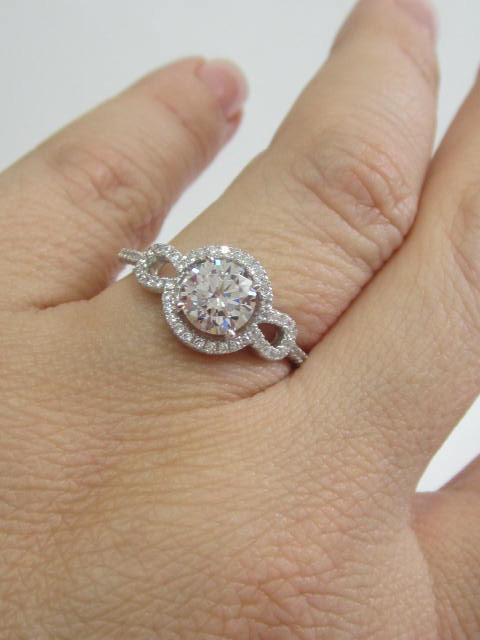 Wedding - CZ Halo Round Cut Engagement Ring, CZ Engagement Ring, Halo Engagement Ring Art Deco Ring Cubic Circonia Engagement Ring Round Halo Gift her
