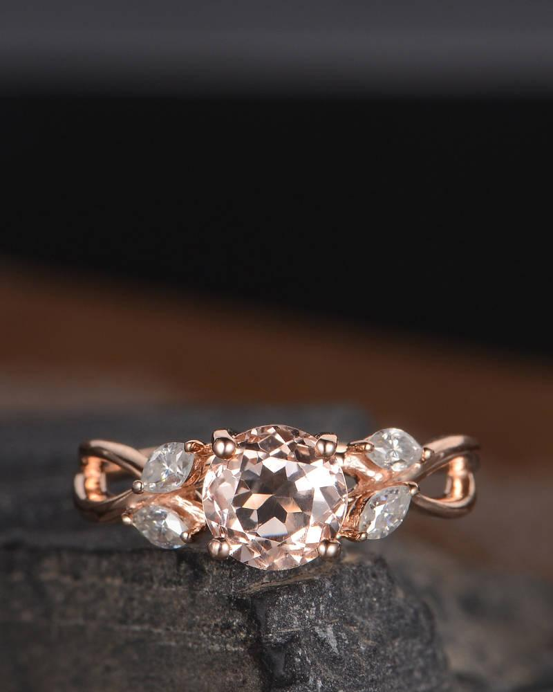Свадьба - Rose Gold Morganite Engagement Ring Marquise Moissanite Infinity Split Shank Unique Leaf Antique Women Curved Promise Anniversary Gift Ring