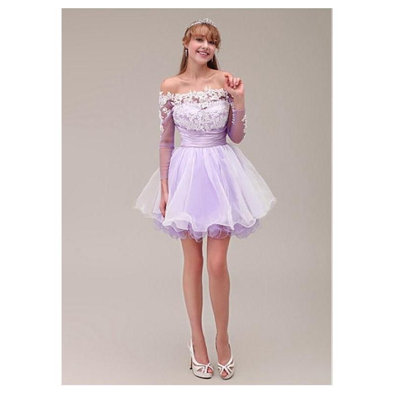 Hochzeit - Chic Tulle & Stretch Satin & Organza Off-the-shoulder Necklline Short A-line Homecoming Dress - overpinks.com