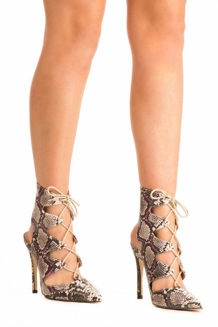 زفاف - Lace Up High Heel Snake Print Shoes In Brown
