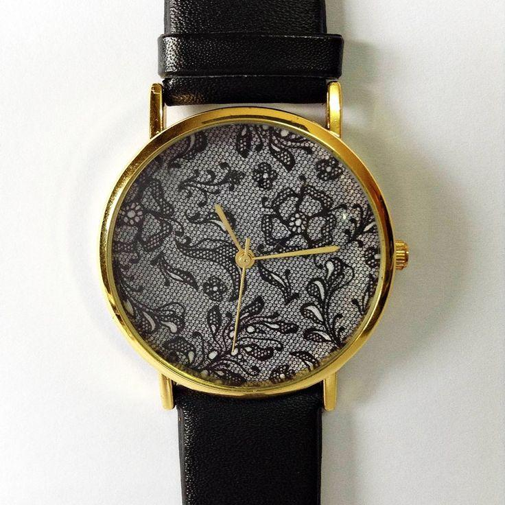Свадьба - Vintage Lace Floral Watch , Vintage Style Leather Watch, Women Watches, Boyfriend Watch, Black Lace Print, Black