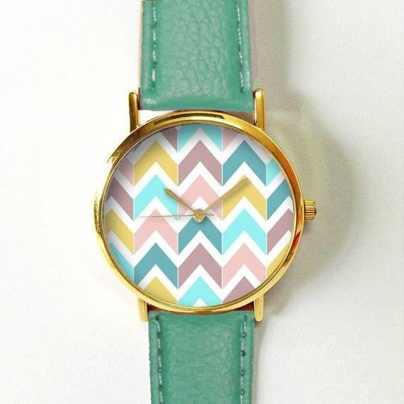 Mariage - Chevron Pastels Watch , Vintage Style Leather Watch, Women Watches, Boyfriend Watch, Men's Watch, Autumn Back To School