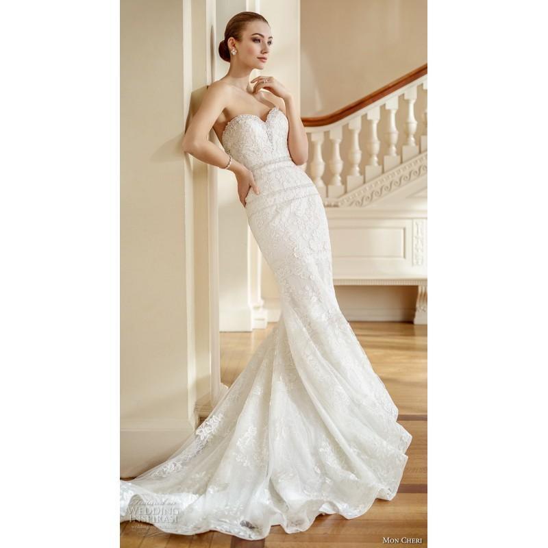 Mariage - Mon Cheri Fall/Winter 2017 220 Sweet Ivory Sheath Lace Sweetheart Chapel Train Sleeveless Embroidery Bridal Gown - Top Design Dress Online Shop