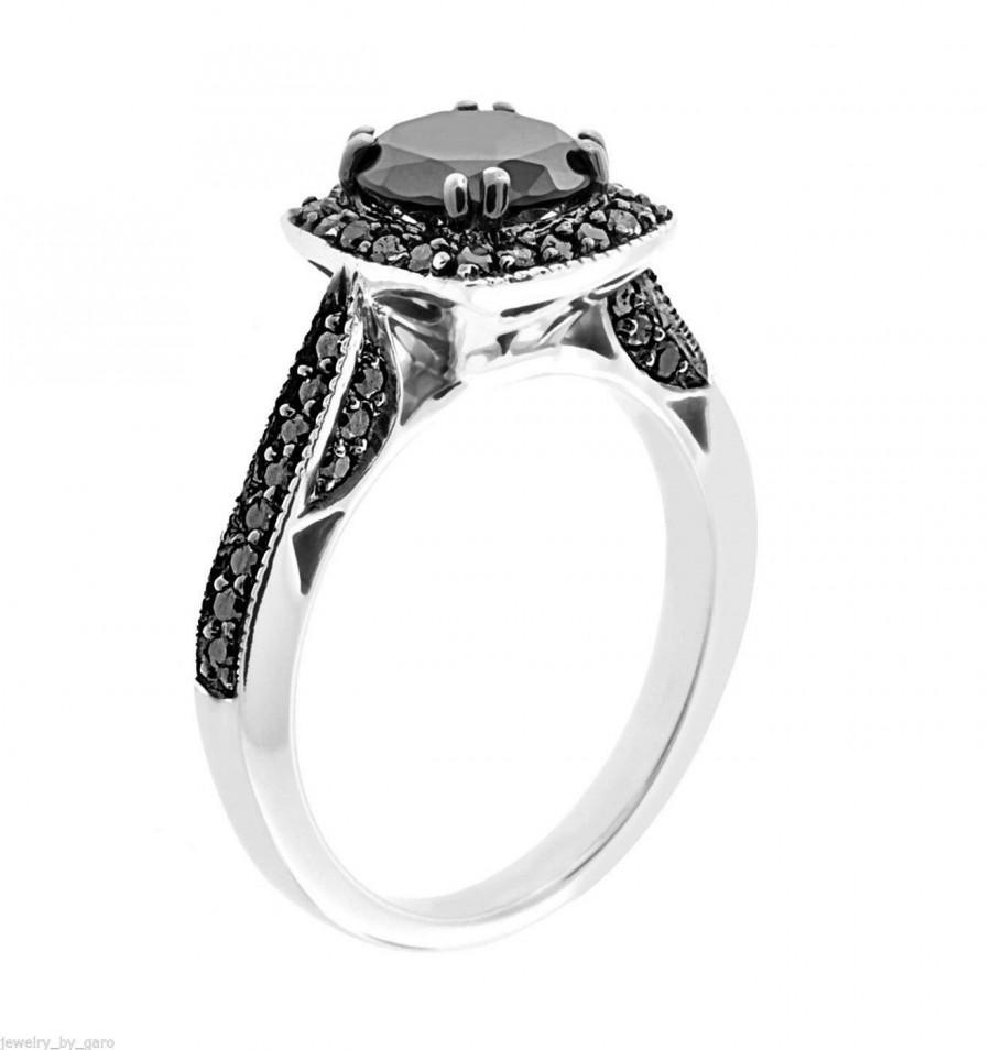 Mariage - Fancy Black Diamond Engagement Ring 14K White Gold 1.50 Carat Certified Pave Set HandMade