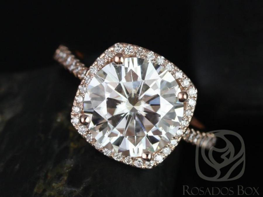 Mariage - Rosados Box Barra 10mm 14kt Rose Gold Round F1- Moissanite and Diamond Cushion Halo Engagement Ring