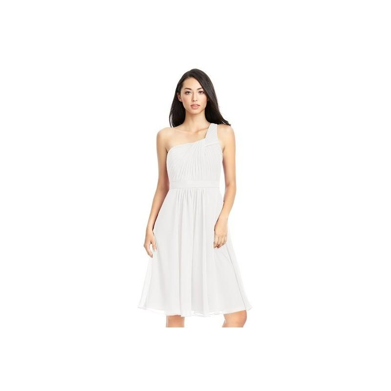 Mariage - Ivory Azazie Camellia - One Shoulder Strap Detail Knee Length Chiffon Dress - Cheap Gorgeous Bridesmaids Store