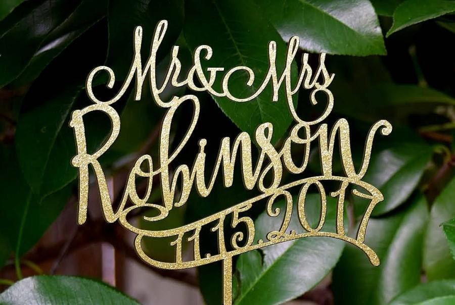 Personalized Mr Mrs Wedding Cake Topper Wedding Cake Decor Surname
