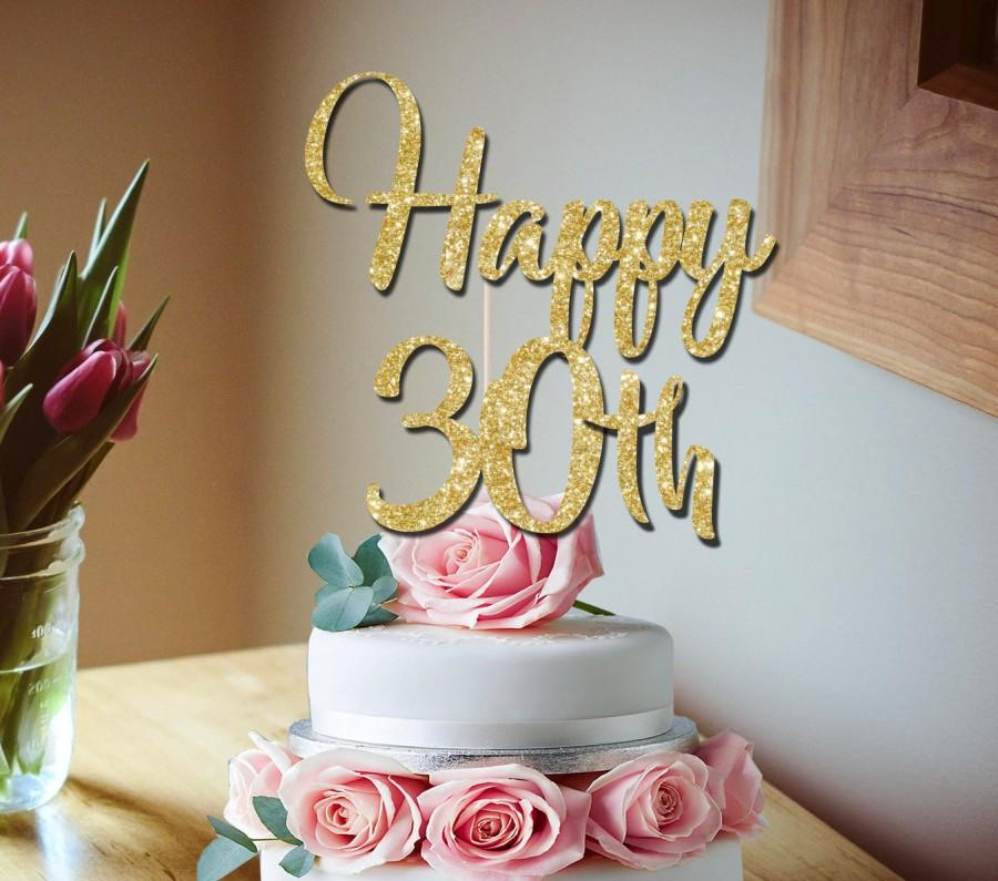 30th Cake Topper Happy Glitter Birthday Party Decoration