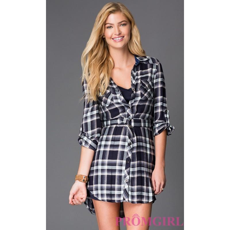 Short Button Down Flannel Dress By As U Wish - Brand Prom Dresses ...