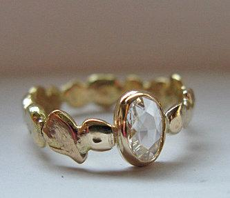 زفاف - Diamond Engagement Ring Size 7 1/2 Unique Engagement Ring 18K Rose Cut Diamond Ring Diamond Promise Ring Pebble Organic Band Handmade OOAK