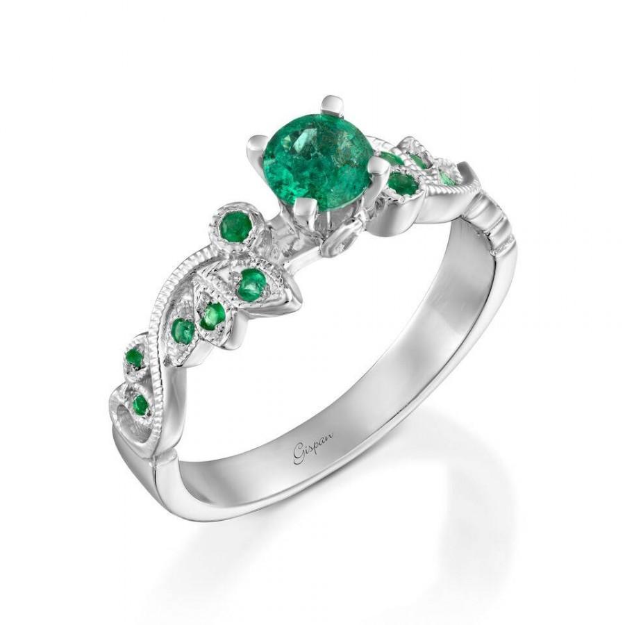 Свадьба - Emerald Engagement Ring, White Gold Ring, Green Emerald Ring, Gem Ring, Wedding Ring, Leaves Ring, Emerald Ring Gold, Promise Ring, Gift