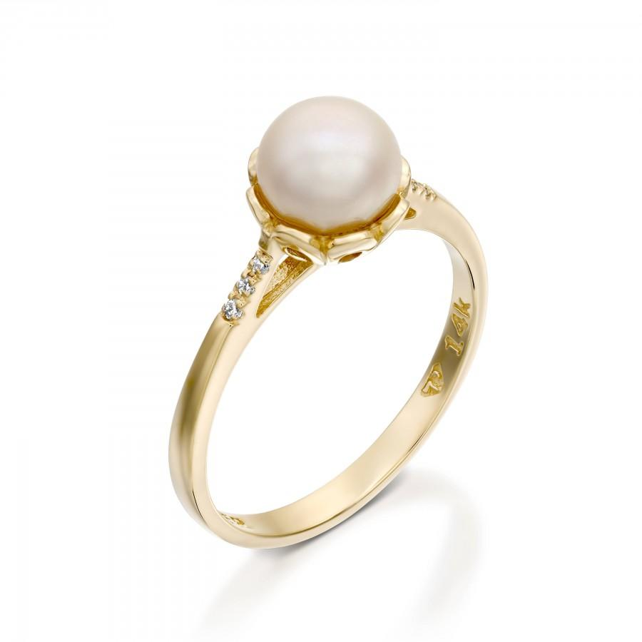 pearl engagement ring 14k gold pearl ring white pearl ring diamond pearl gold ring pearl wedding ring pearl bridal ring sets - Pearl Wedding Ring Sets