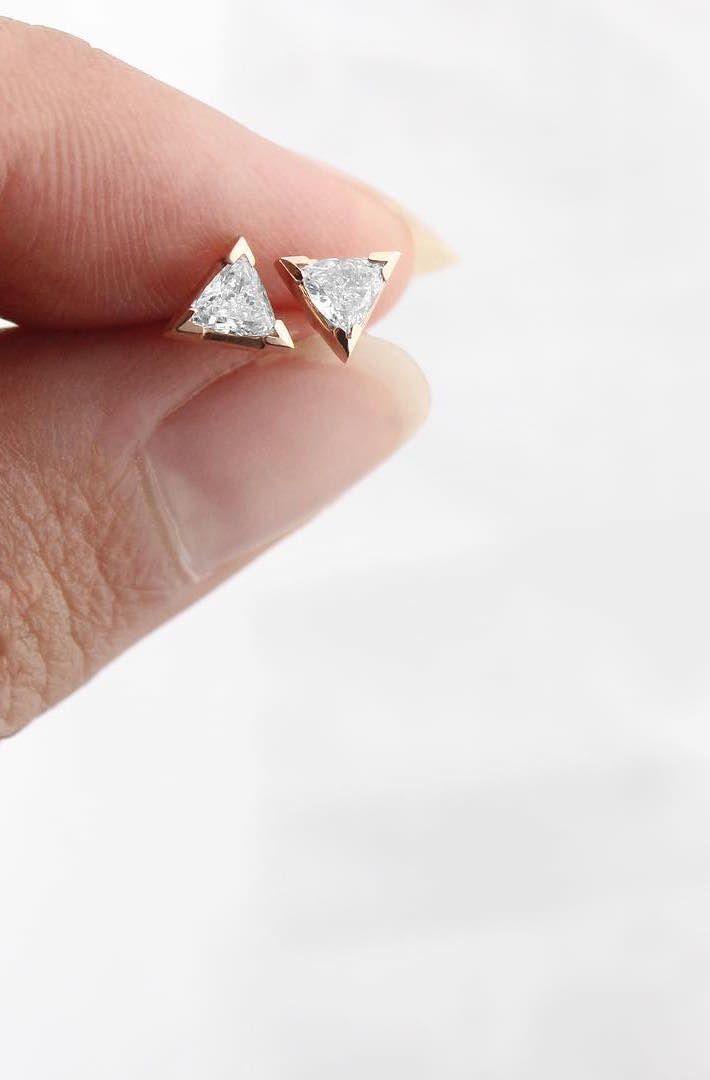 Wedding - Trillion Diamond Earrings