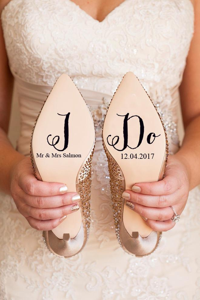 Mariage - Personalised Wedding Shoe Vinyl Sticker Decal With Name & Date Decorations Bridal shoe Bridesmaid I Do Etc
