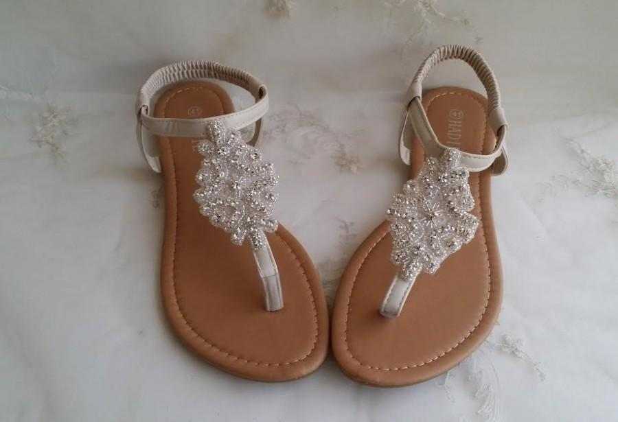 Mariage - Ivory Wedding Sandals with Crystals Destination Wedding Sandals Beach Wedding Sandals Beach Wedding Shoes Vegan Sandals