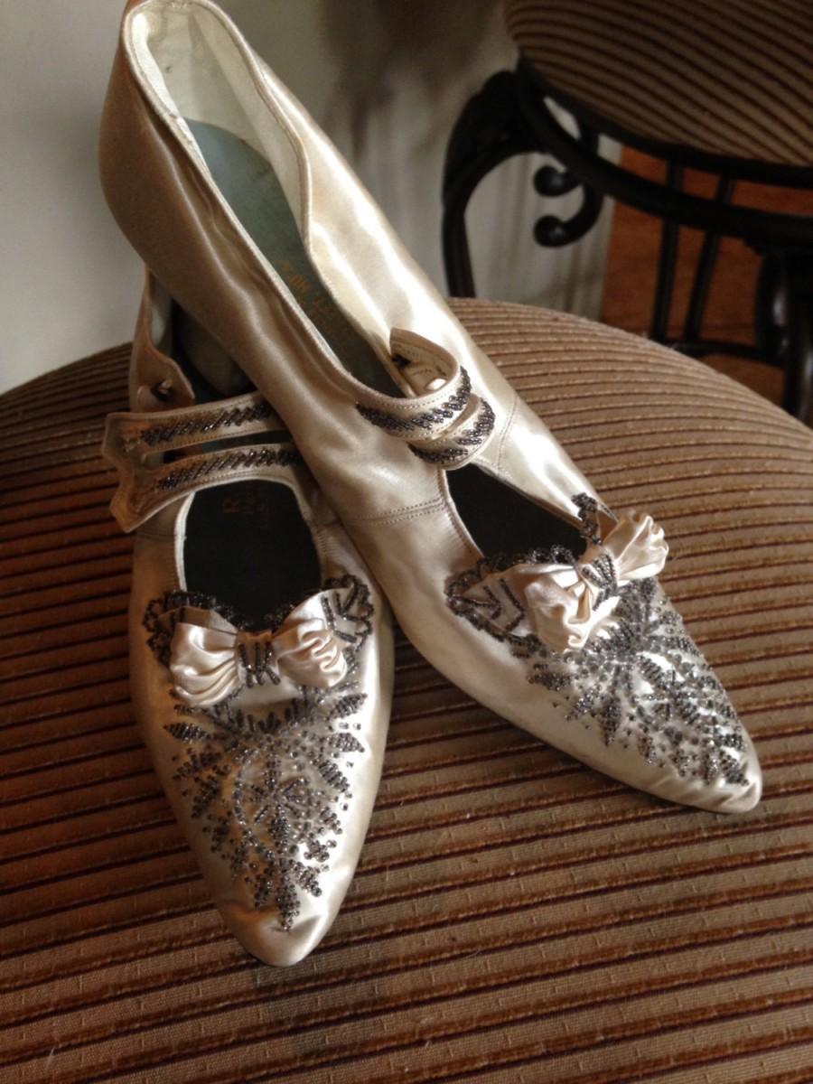 Mariage - Splendid Edwardian Satin Beaded Wedding Shoes--Original Box, Provenance