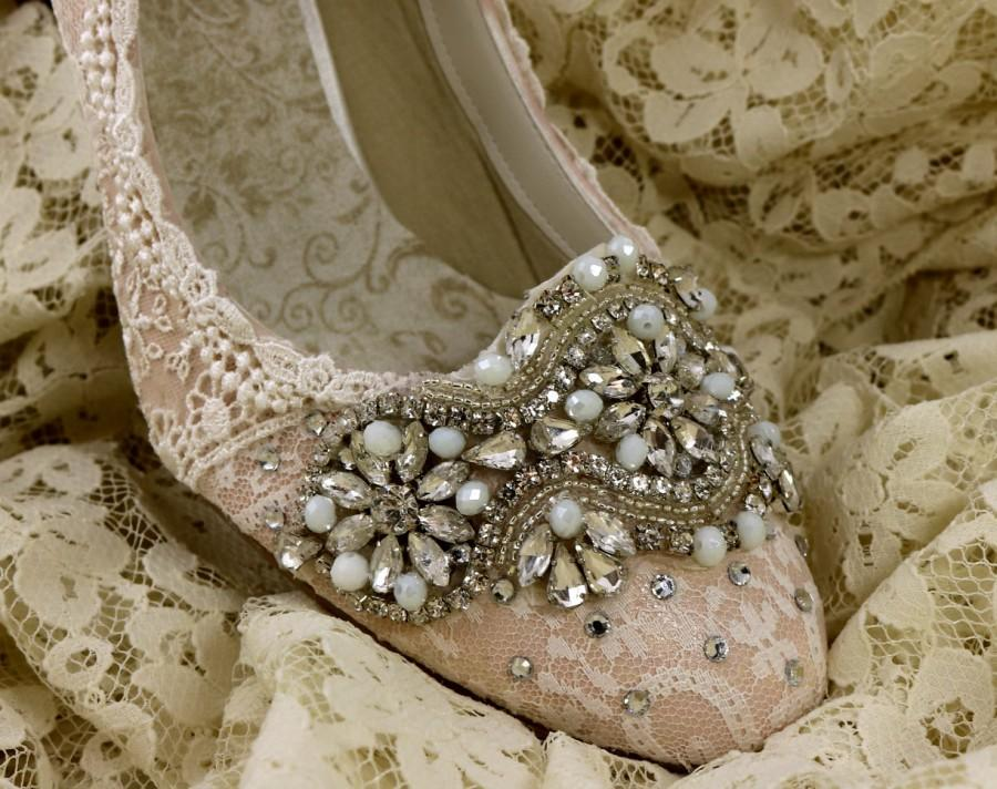 Blush Wedding Shoes Mid Heel Wedding Shoes Champagne Wedding Shoes Vintage Lace Bridal Shoes Sparkling Wedding Shoes Blush Bride 2772334 Weddbook