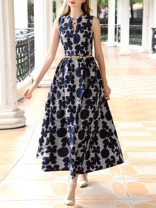 Mariage - Jacquard Sleeveless Vintage Maxi Dress