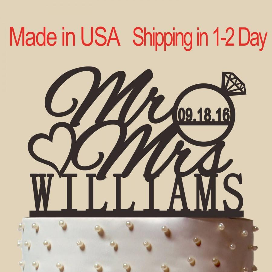 Свадьба - Custom Name Cake Topper With Wedding Date, Personalized Acrylic Wedding Cake Topper, Mr and Mrs Cake Topper, Wedding Cake Topper CT003
