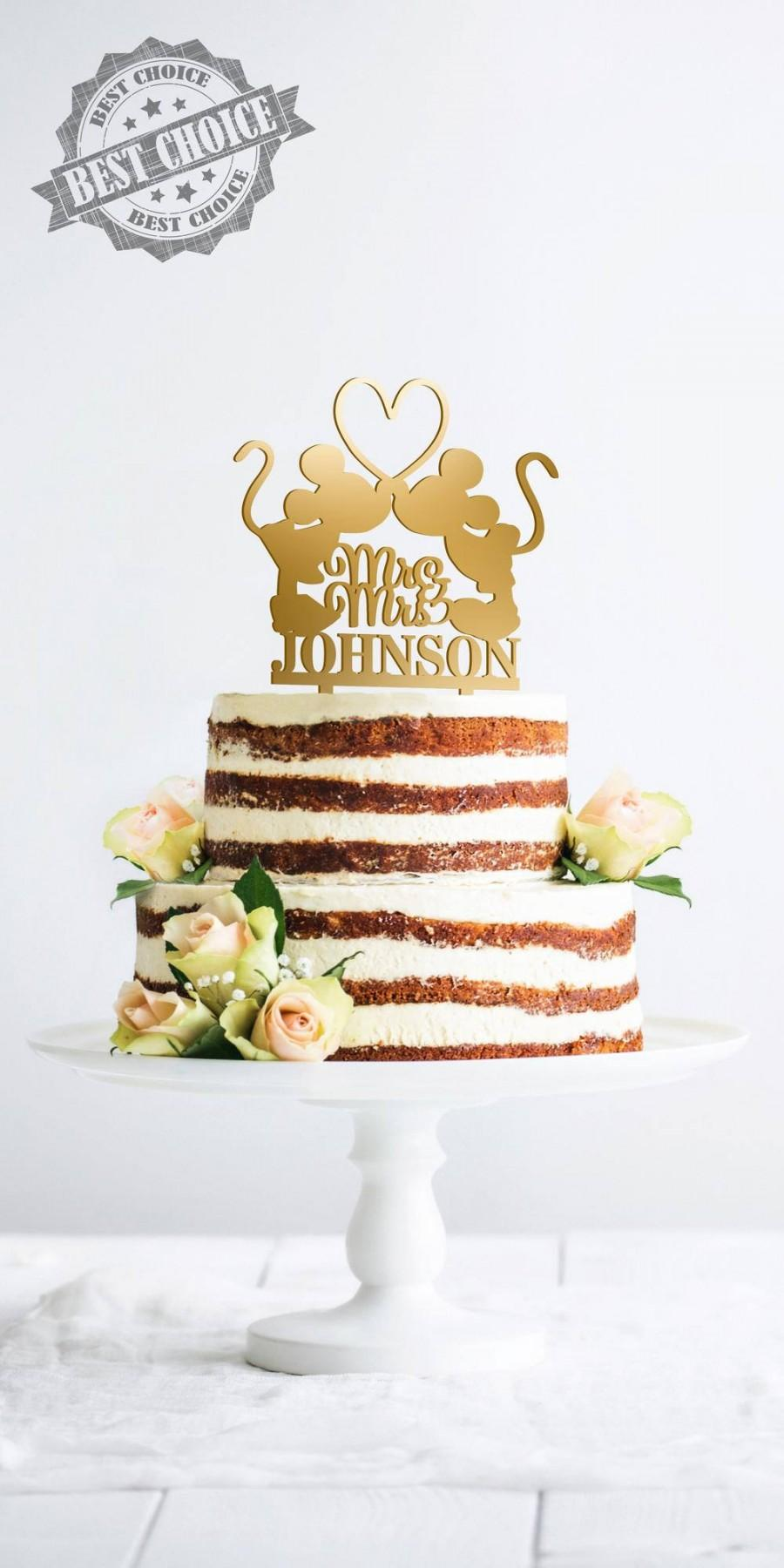 Свадьба - Personalized Wedding Cake Topper Mr Mrs Last Name Mickey Kissing Heart Minnie Mr Mrs Customized Topper Personalized Wedding Cake Topper D#11