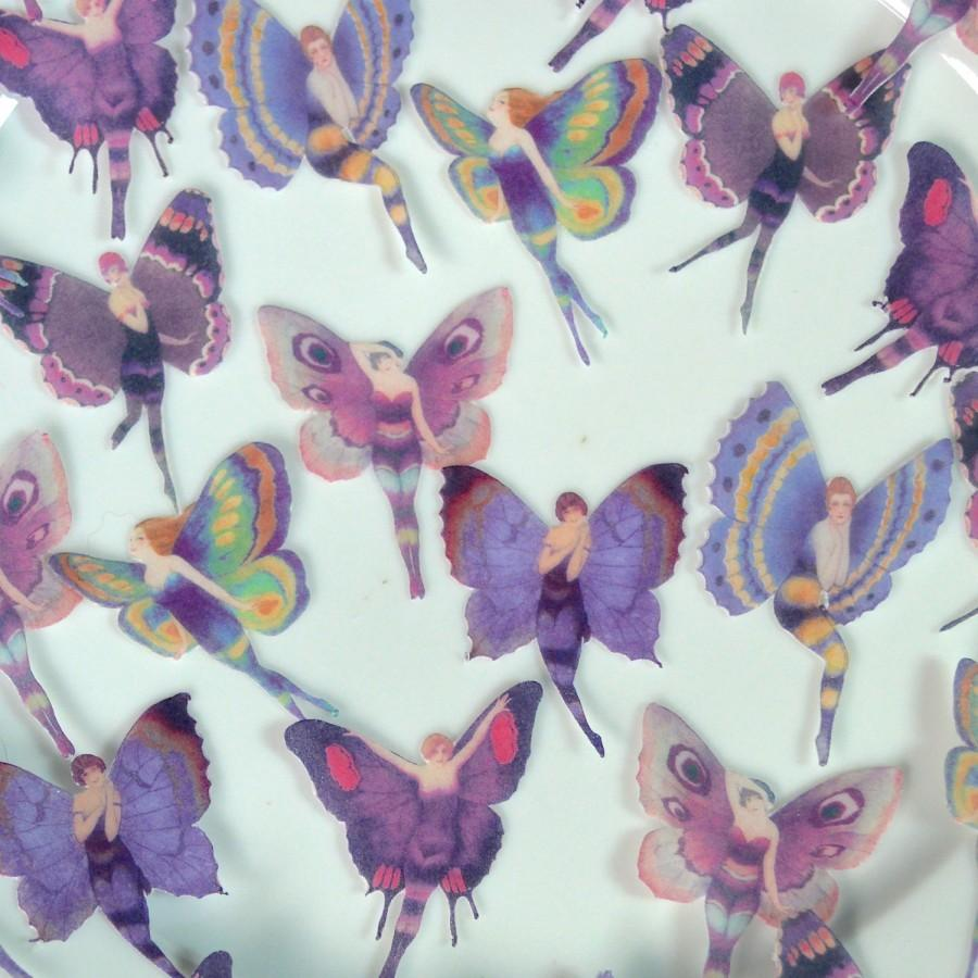 Hochzeit - Edible Purple Flapper Butterfly Fairies Amethyst Plum Fairy Butterflies Wings Wafer Paper Wedding Cake Cupcake Cookie Toppers 1920 Fae Pixie