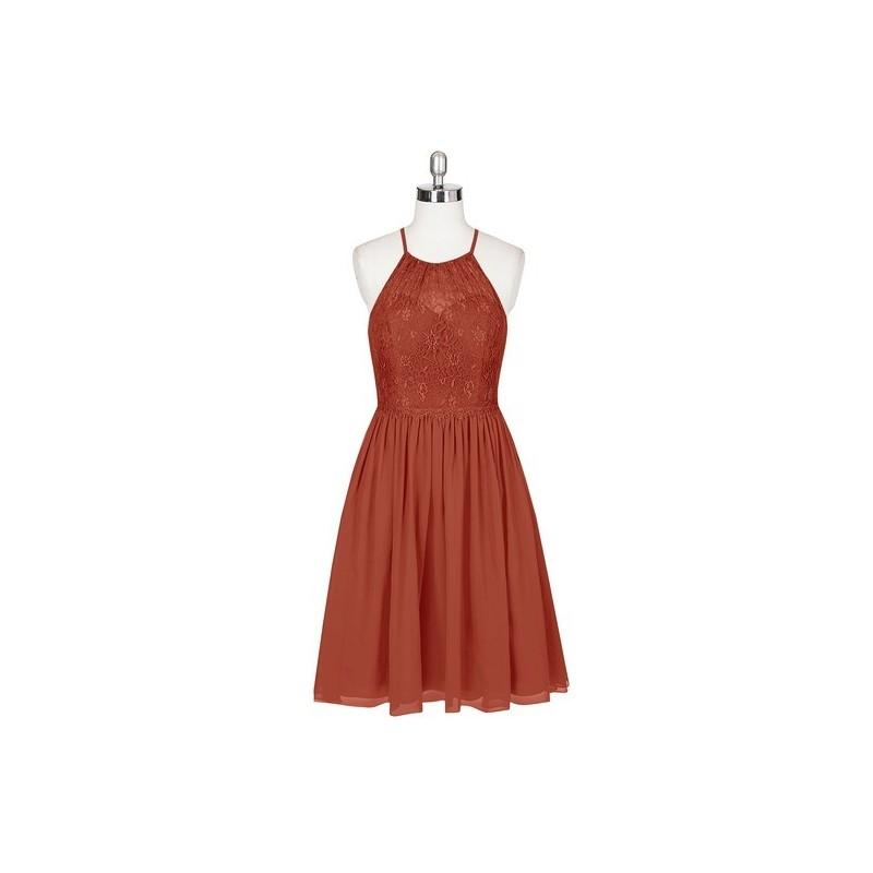زفاف - Rust Azazie Lyric - Knee Length Illusion Chiffon And Lace Halter - Cheap Gorgeous Bridesmaids Store
