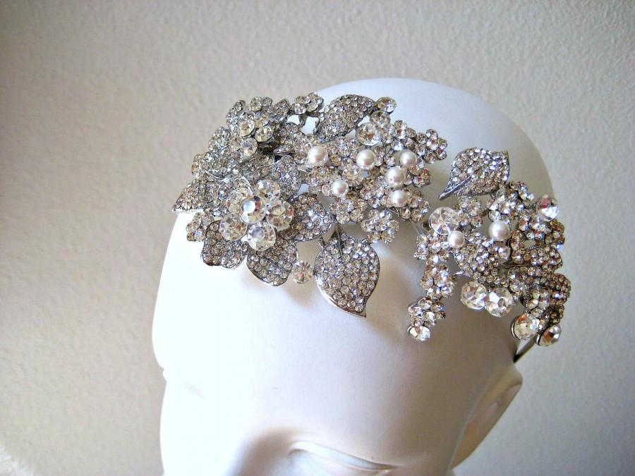 Mariage - Bridal Swarovski Crystal Headpiece. Rhinestone Pearl Jewel Wedding Tiara Headband.  CRYSTAL GARDEN