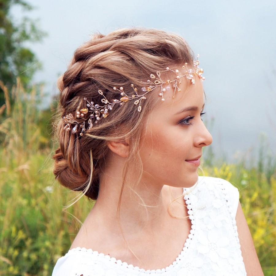 Gold Hair Vine Copper Pearl Hair Vine Bridal Hair vine Rose Gold Hair vine Bridesmaid Gift Menaka