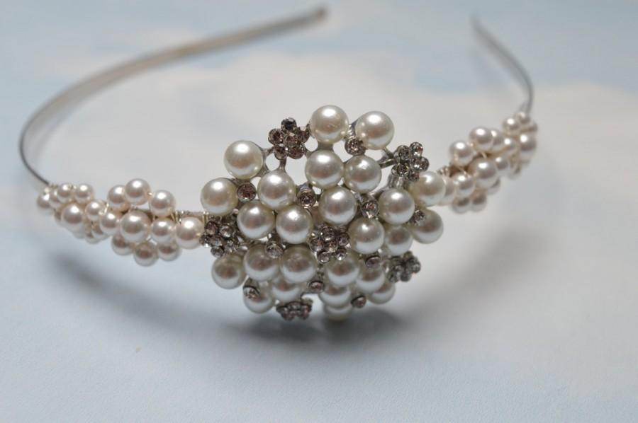 Pearl Wedding Headband Bridal Hair Piece Wedding Tiara