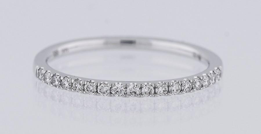 Mariage - Gold & Diamond Thin Wedding Band. White, Yellow and Rose in Half-Way and Eternity. Petite Minimal and Stackable(1.3mm). Quick Shipping!