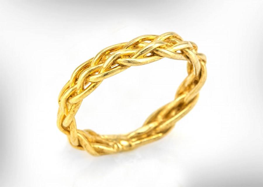 Mariage - 14k Gold Wedding band, Braided Bridal Ring, delicate wedding ring, eternity band, unique wedding band, unisex Bands, Free Shipping