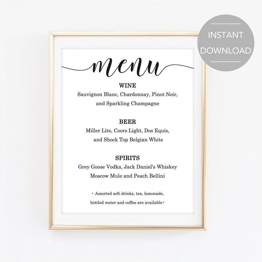 Bar Menu Sign Printable Bar Menu Sign Wedding Bar Menu Sign Bar
