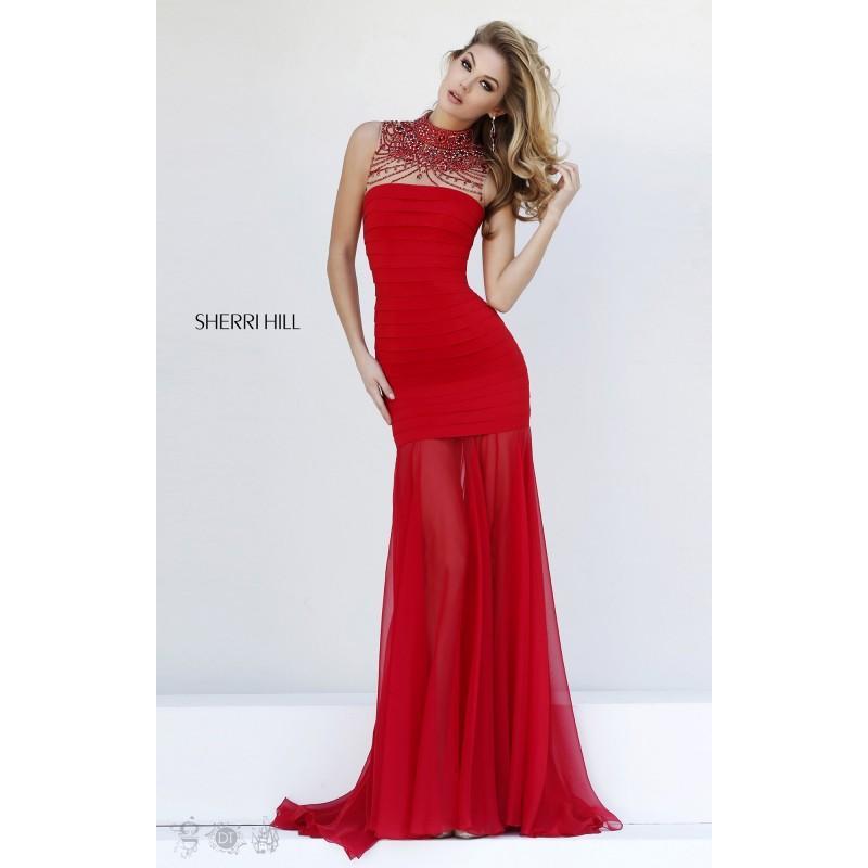 Свадьба - Black Sherri Hill 32293 - Chiffon Sheer Dress - Customize Your Prom Dress