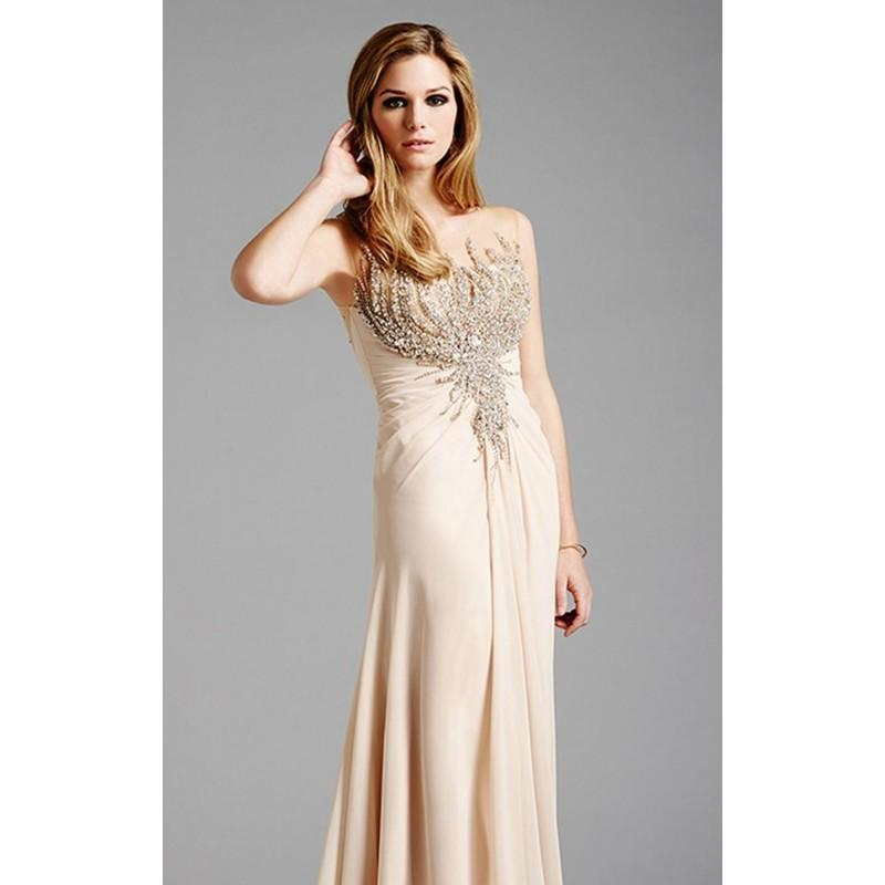 Champagne Embellished Beaded Gown By Lara Designs - Color Your ...