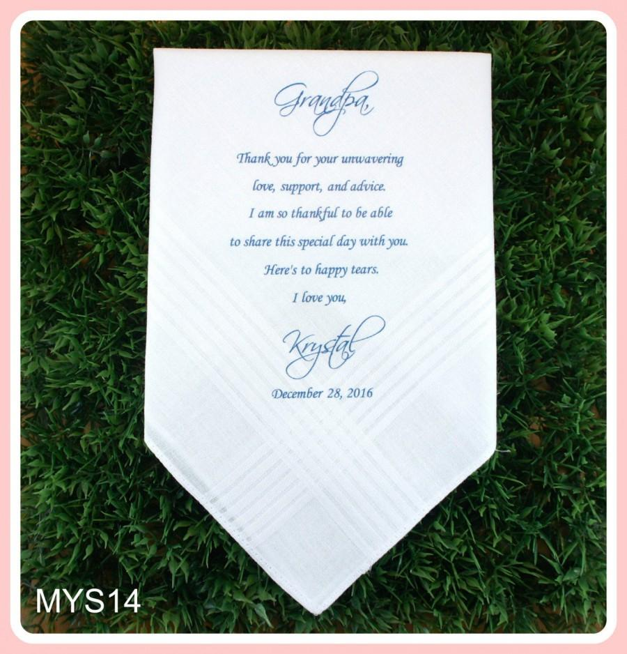 زفاف - Grandfather Gift from the Bride-Wedding Handkerchief-PRINT-CUSTOMIZE-Wedding gift to Grandpa-Grandfather hankerchief from the Bride or Groom