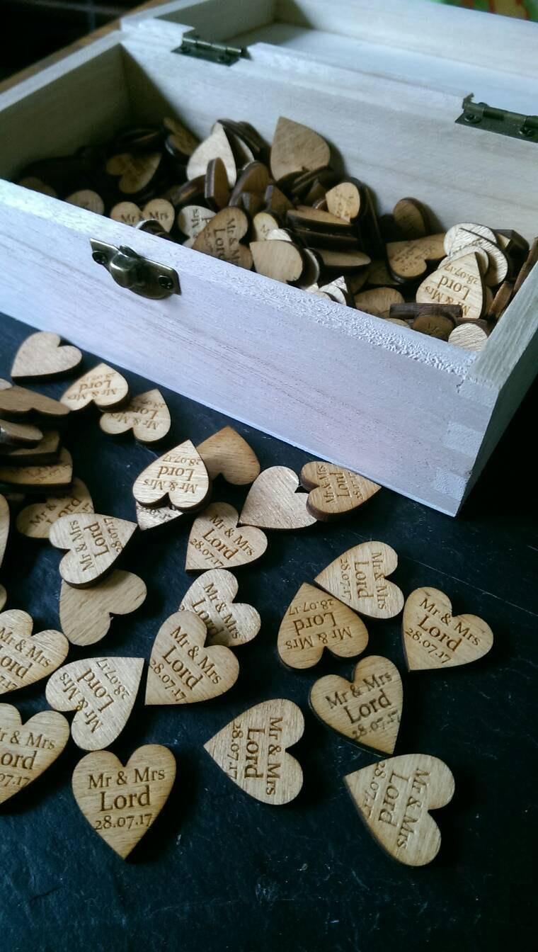 Personalised Rustic wooden Love Heart Wedding Decorations Favours Gift Mr & Mrs Table Confetti